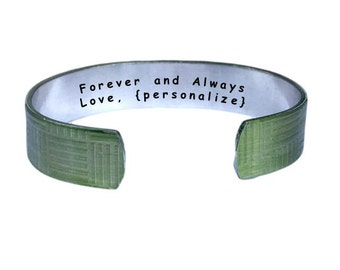 Forever and Always | Cuff Bracelet Personalized Jewelry Hand Stamped Yellow Geometric Aluminum