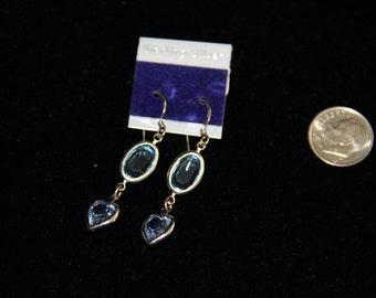 Sterling Silver Crystal Blue  Heart Earrings Dangle Vintage 1980's NEW!