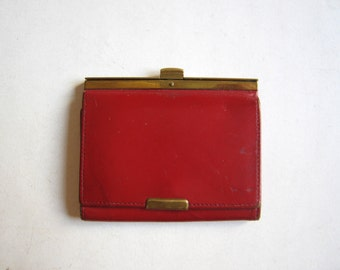 vintage red genuine leather wallet