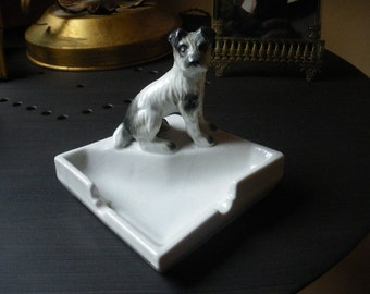 Vintage French Ashtray with black and white dog around 1950