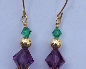 Emerlad, Purple & Gold Dangling Earrings