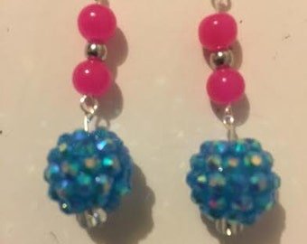Bright Pink and Blue Dangles