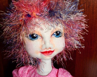 OOAK, cloth doll, fabric art doll, hand sewn, needle sculpted, pinks and blues