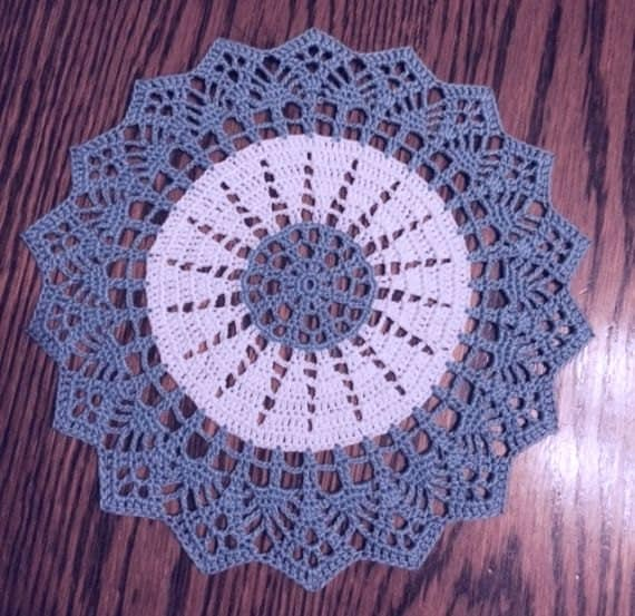 Crochet Doily Home Decor Crochet Table Topper Blue And