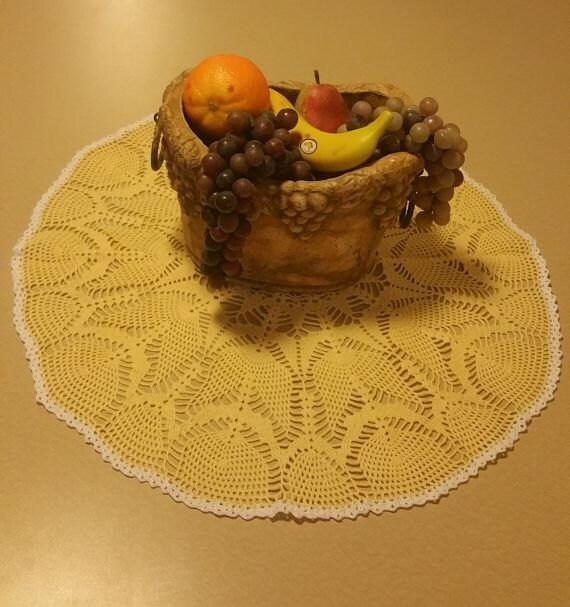 crochet doily home decor crochet table topper yellow table