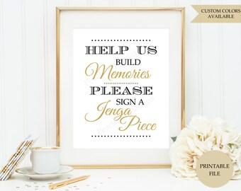 Jenga guest book sign (PRINTABLE FILE)  - Jenga wedding sign - Wedding Jenga - Wedding guest book alternative - Black and gold wedding