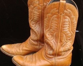 Vintage Code West Caramel Leather Boots. Mens 8 1/2 / Free Shipping