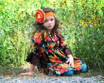 Bright Pink, Orange, and Yellow Singed Flower Headband