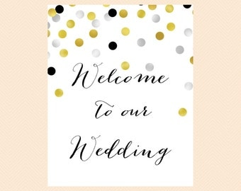 Wedding sign welcome, welcome to our wedding sign, Wedding Signage, Wedding Sign Printable, gold silver, Modern, Bridal Shower SN13 BS56