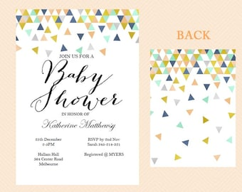 Instant Download, Editable Baby shower invitation, Coral and Mint Baby Shower Invite, Modern, Baby announcement, Geometric Confetti TLC51