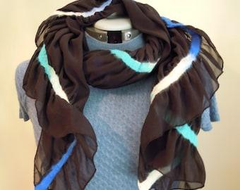 Nuno Felting fine merino wool, silk scarf. Black, white, blue, green