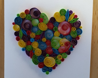 Paper Quilled Heart Card - 5x7