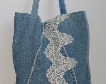 Denim Bag with Lace / Recycled Jeans Bag / Big Grocery Bag / Shoulder Purse / Denim Tote Bag / Jeans purse