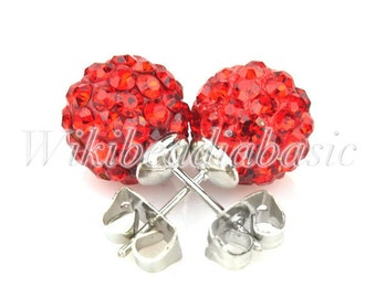 1pair Round Red Crystal  Pave Rhinestone Earstuds Earrings Beads Size 10mm SL0009-8
