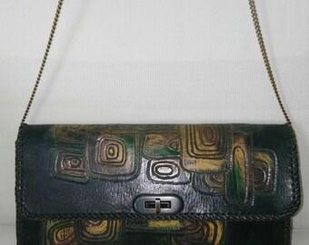 Vintage Handmade Tooled Colors Shoulder Bag