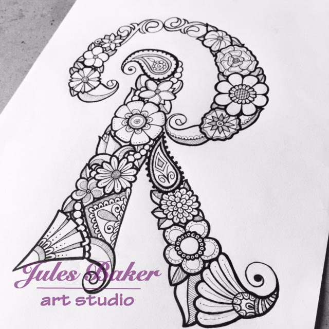 Digital Coloring Page Letter R From
