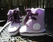 Crochet Purple Tennis Court Baby Shoes