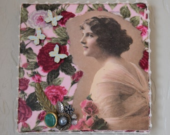Collage, mixed media art, wall art, shabby chic, vintage inspired
