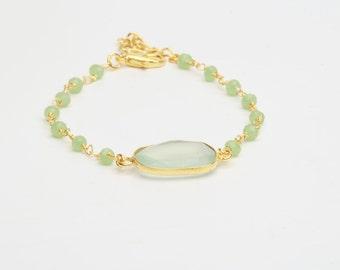 chalcedony with stones chain bracelet