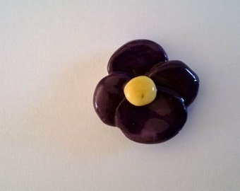 Individual Ceramic Viola Flower Mosaic