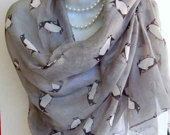 Large Penguin Scarf. Gray Penguins Print Scarves/Shawl/Wrap/Stole. Animal Lover Scarf.Beach Pareo.Summer Scarves.Summer Scarf.Beach Wrap
