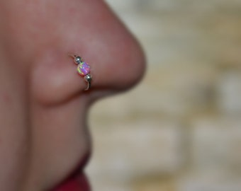 Pink Opal NOSE RING // Gold Nose Hoop - Daith Piercing - Cartilage Earring - Tragus Ring - Cartilage Hoop - Helix Jewelry 20g