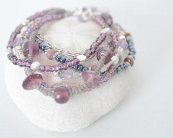 Multistrand Purple and Grey Lampwork Beaded Bracelet, Sterling Silver Clasp