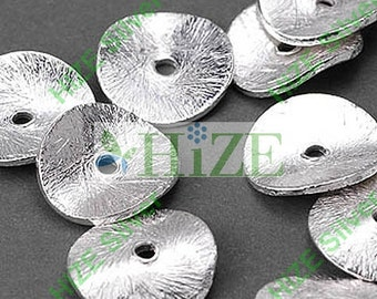 HIZE BB138 925 Bali Sterling Silver Wavy Disc Chip Spacer Beads 10mm (20)