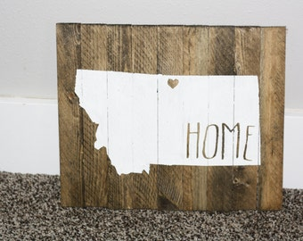 State of Montana wooden sign, Customizable