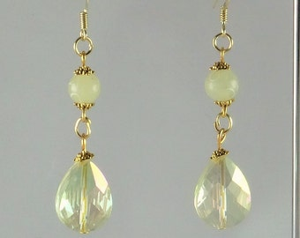 Earrings crystal champagne teardrop and jade (natural gemstone) and etched frosted pale green - An 123 Pierres jewel