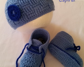 Hat and booties set baby, whole baby shoes and hat 3-6 months