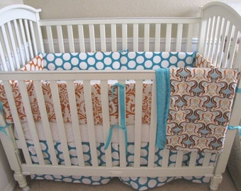 Orange and Aqua Dandi Glam Baby Bedding Set