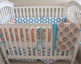 Orange and Aqua Dandi Glam Baby Bedding Set