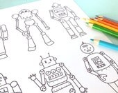 Printable RETRO ROBOTS Coloring Page- Digital File- Instant Download space robots, little boys