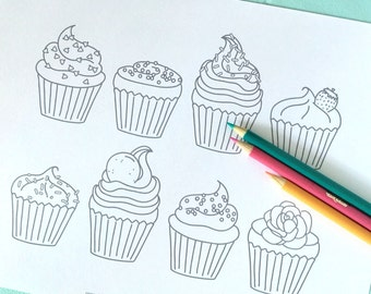 Printable CUPCAKES Coloring Page- Digital File- Instant Download sweets, treats, toppings, frosting, sprinkles, birthday