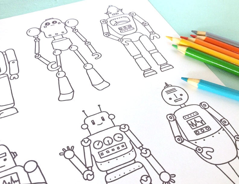Printable RETRO ROBOTS Coloring Page Digital File Instant