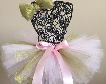 Pink & gold glitter tutu, Birthday tutu, cake smash tutu, baby girl tutu.