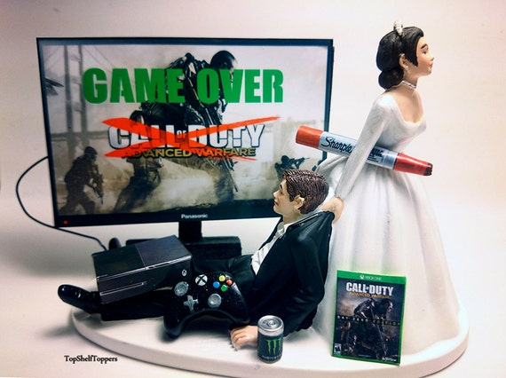 Funny wedding cake topper gamer gameover cod adv war xbox