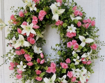 Beautiful spring wreath, pink roses and creme lillies, Front door wreath, summer door wreath, spring wreath, home decor, floral wreath