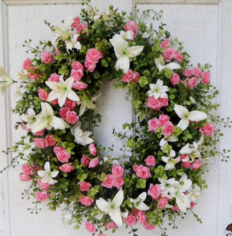 Beautiful spring wreath pink roses and creme lillies front door beautiful spring wreath pink roses and creme lillies front door wreath summer door wreath spring wreath home decor floral wreath rubansaba