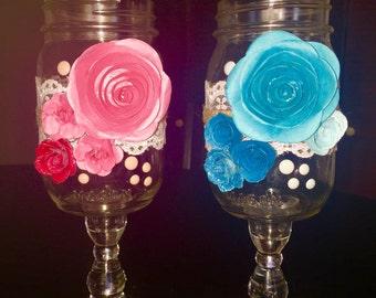 Mason Jar Wine Glasses, Wedding, Toasting Glasses, His & Hers