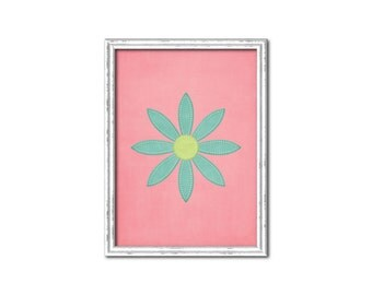 Pink with Blue Pointed Daisy Nursery Print-Millie Collection