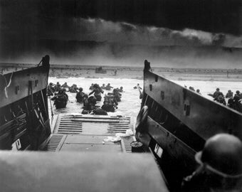 D-Day WWII Omaha Beach Poster Art Photo 11x14 or 16x20