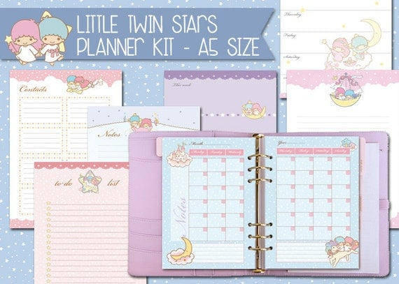 Printable Calendar Kit : Little twin stars printable planner kit a size undated