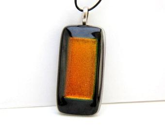 Pendant Dichroic Glass Fusing Orange Rectangle