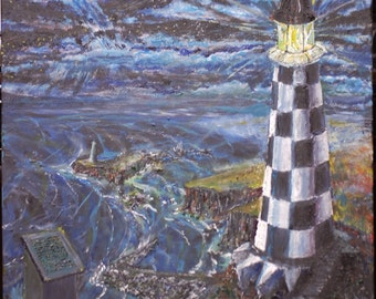 Oil Painting original lighthouse  'A Poem to a Friend'
