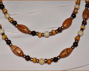 Caramel Wood Beads, Extra Long Necklace, Long Beaded Necklace, Tan and Brown Beads, Wood Beaded Necklace, Double Strand Beads