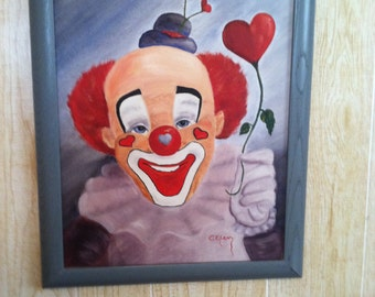 14x18 Framed oil Painting of clown and hearts
