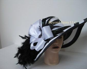 Black White STRIPE Wide Brim Kentucky Derby Rhinestone Bow Straw Hat