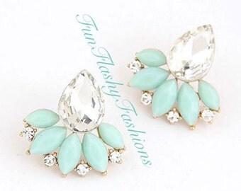 Statement flower earrings, stud mint green